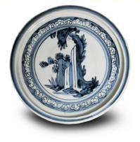初期伊万里染付山水図皿